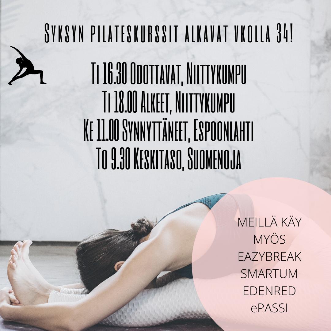 Pilates Jooga Kehonhuolto -tunnit Ke Su klo 18.00 (1)